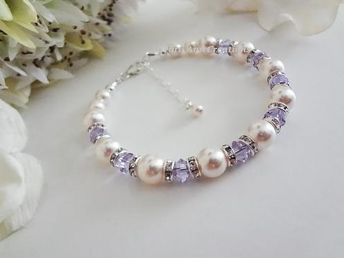 Swarovski Pearl and Alexandrite Crystal Clasp Birthstone Bracelet
