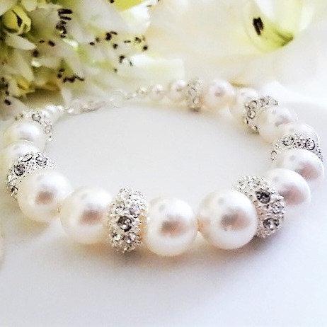 Swarovski Pearl and Pave Crystal Clasp Wedding Bracelet