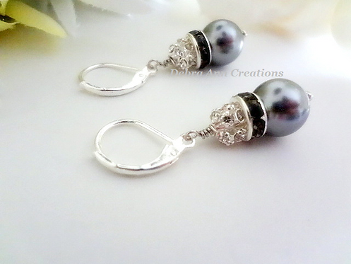 Grey Pearl and Crystal Pave Drop Earrings BRER4012