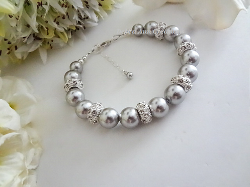 Grey Pearl and Pave Crystal Clasp Bridal Bracelet BRPL3011