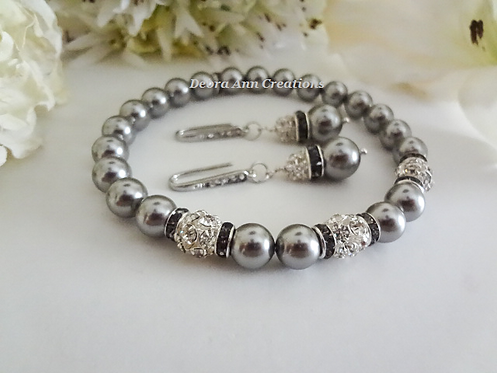 Swarovski Pearl and Crystal Wedding Bracelet and Drop Earrings Set