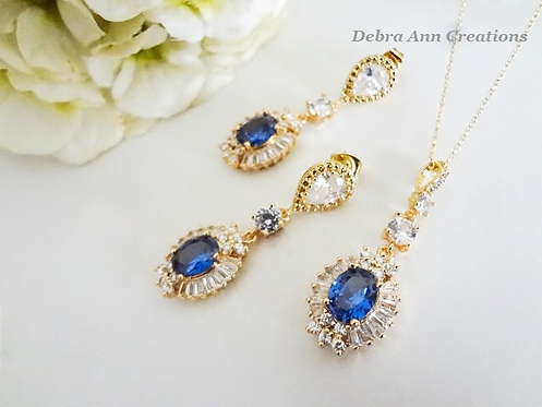Gold Sapphire Cubic Zirconia Baguette Necklace and Earrings Set