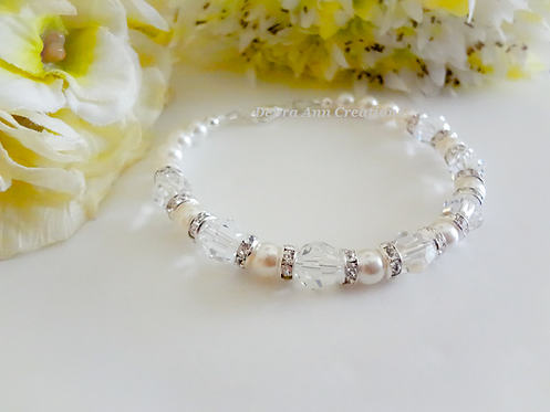 Pearl and Crystal Clasp Wedding Bracelet BRPL3009