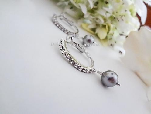 Pearl and Crystal Hoop Wedding Earrings BRER4021