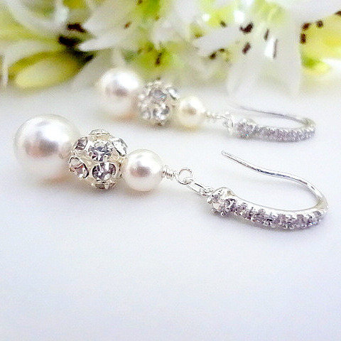 Swarovski Pearl and Crystal Pave Bridal Earrings