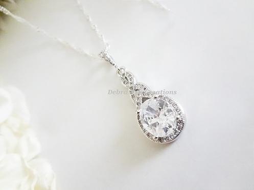 Cubic Zirconia Teardrop Pendant Wedding Necklace BRNK6010