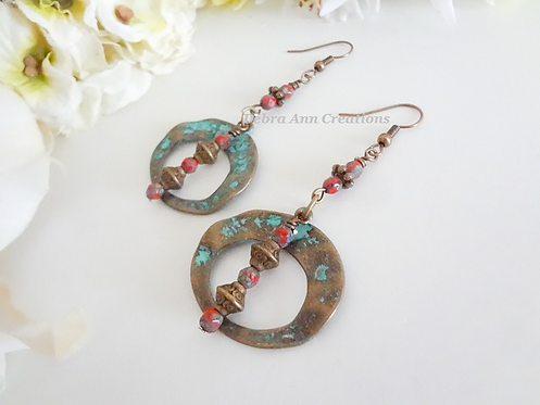 Antique Brass Donut Hoop Long Earrings