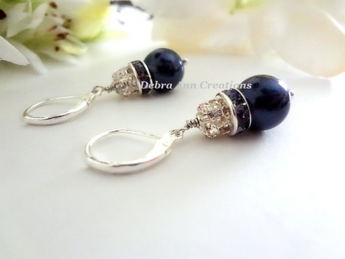 Navy Blue Pearl and Crystal Pave Drop Earrings BRER4013