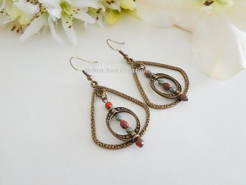 Antique Brass Hammered Triangle Teardrop Oval Hoop Earrings