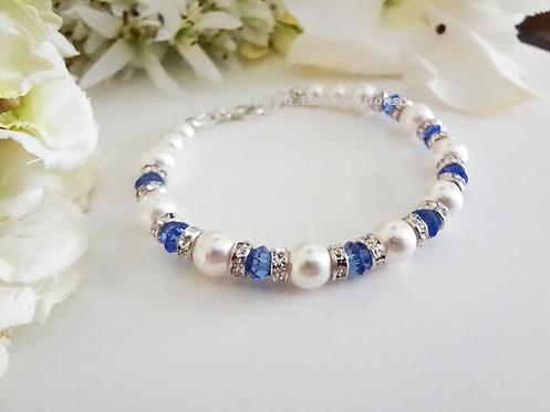 Swarovski Pearl and Sapphire Crystal Clasp Wedding Bracelet