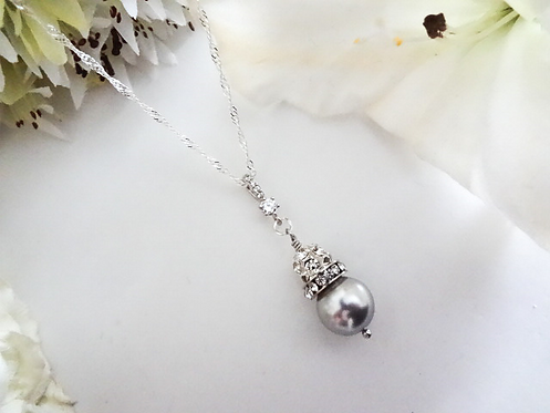 Swarovski Pearl and Crystal Pave Drop Bridal Necklace