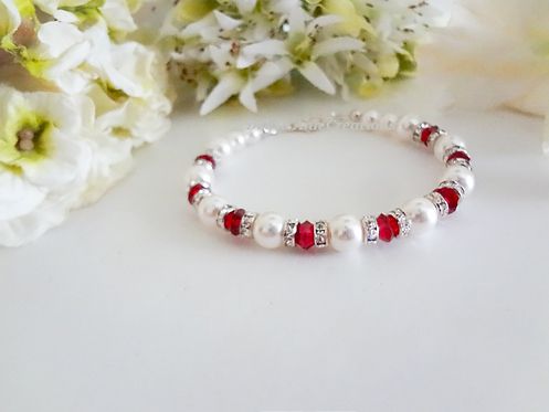 Pearl and Ruby Crystal Clasp Birthstone Bracelet BRTHBR1009