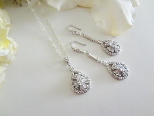 Cubic Zirconia Wedding Jewelry Set BRNKST5019