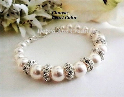 Pearl and Pave Crystal Wedding Bracelet BRPL3004