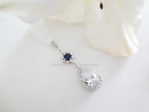 Cubic Zirconia Teardrop Pendant Wedding Necklace BRNK6007