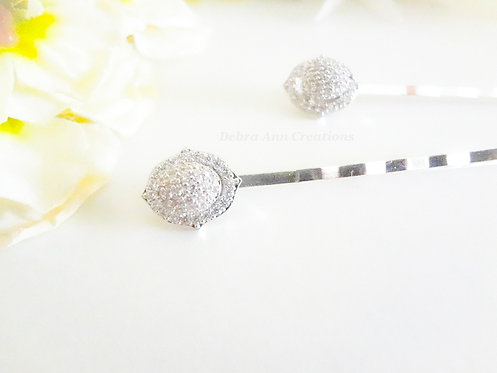 Micro Pave Cubic Zirconia Oval Wedding Hair Pins