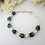Thumbnail: Pearl and Emerald Crystal Clasp Bridal Bracelet BRPL3007