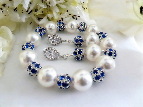 Swarovski Pearl and Sapphire Crystal Bridal Bracelet and Earrings Set