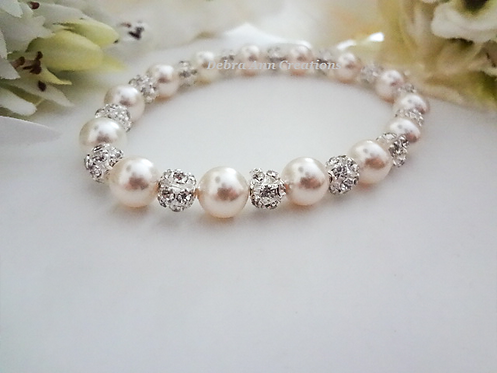 Pearl and Crystal Wedding Bracelet BRPL3020
