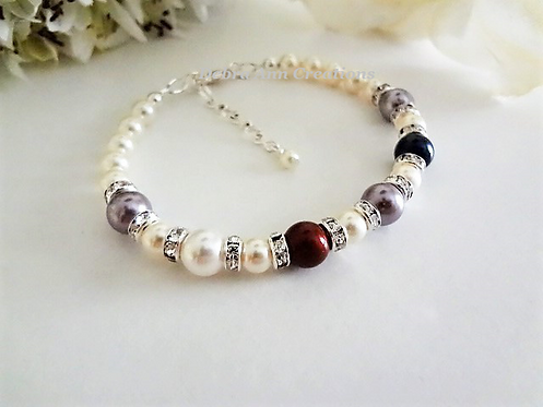 Pearl Family Birthstone Clasp Bracelet MBR9004