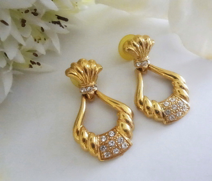 Crystal Rhinestone Pave Gold Doorknocker Vintage Earrings