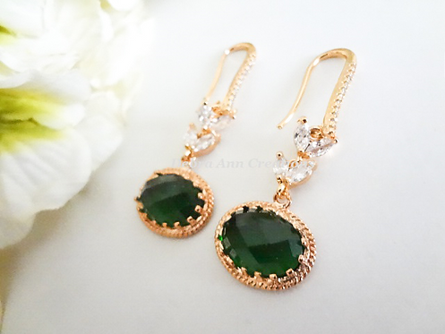 Emerald Cubic Zirconia Halo Dangle Wedding Earrings