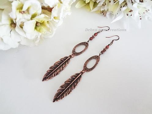 Antique Copper Long Metal Feather Earrings FSER7006