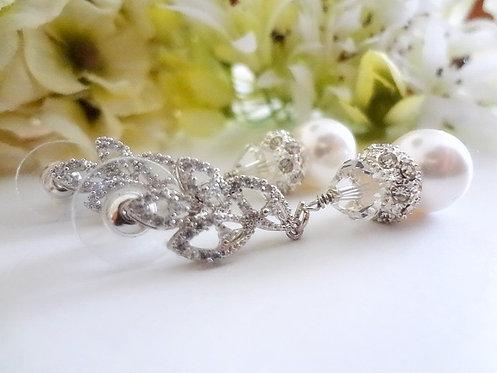 Swarovski Pearl and Crystal Bridal Earrings