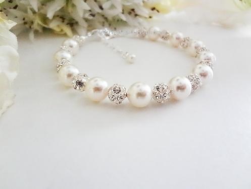 Swarovski Pearl and Round Crystal Pave Clasp Bridal Bracelet