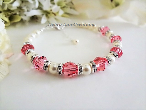 Swarovski Pearl and Rose Pink Crystal Clasp Wedding Bracelet