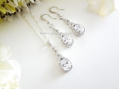 Cubic Zirconia Teardrop Pendant Wedding Necklace and Earrings Set