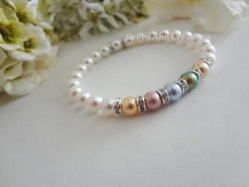 Mothers Pearl Stretch Birthstone Bracelet MBR9010