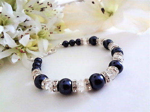 Swarovski Navy Blue Pearl and Crystal Clasp Bridal Bracelet