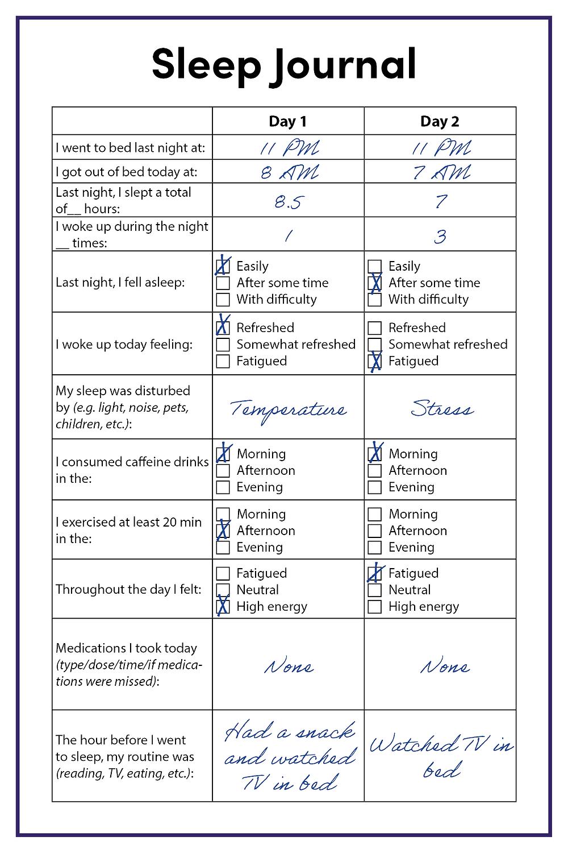 Sleep hygiene_sleep journal