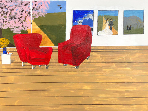 Painted Visuals for the article Orchestrating Home, Experiences with spousal stroke care