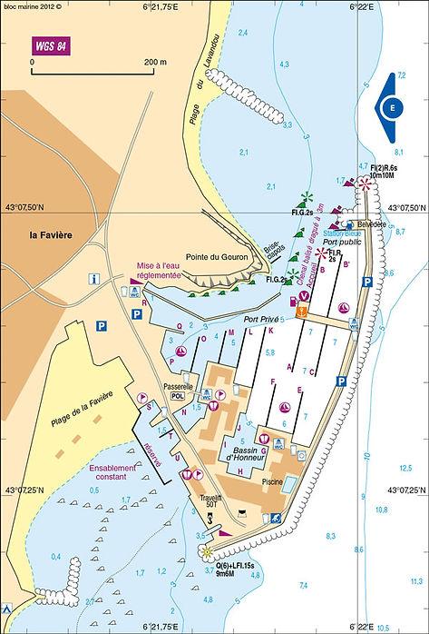 Plan du port de Bormes-les-Mimosas OneToSea location de voiliers Hyères Bormes Le Lavandou