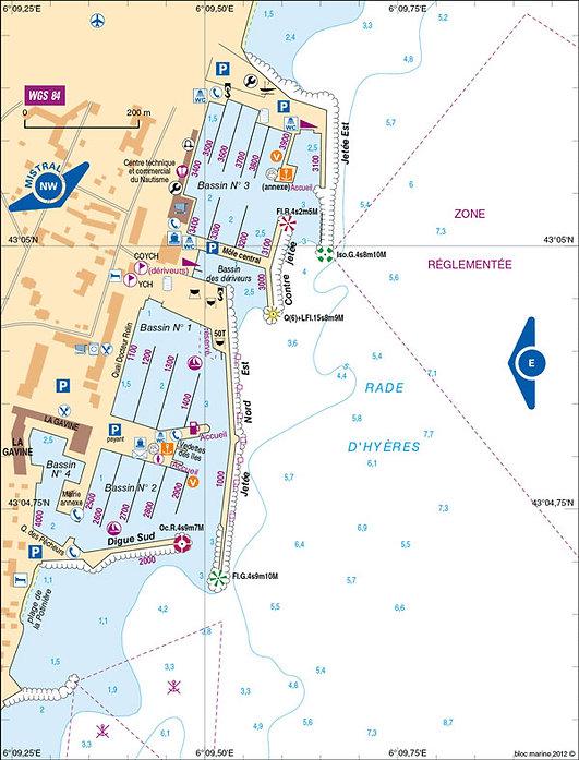 Plan port d'Hyères - OneToSea Location de Voiliers Hyères Bormes Le Lavandou
