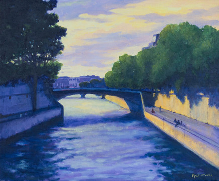 Summer evening by the river Seine