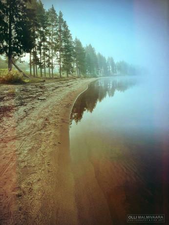 Misty morning at Nuasjärvi lake