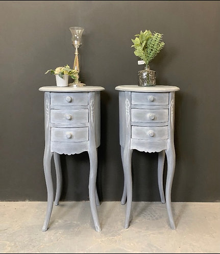 Round grey French style cabinets - PAIR
