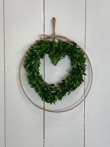 Artificial foliage heart & copper wreath