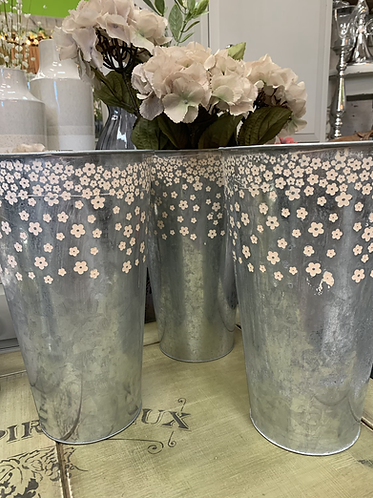 Flowered galvanised tall pot