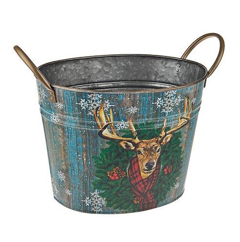 Winter stag oval tin planter  21cm