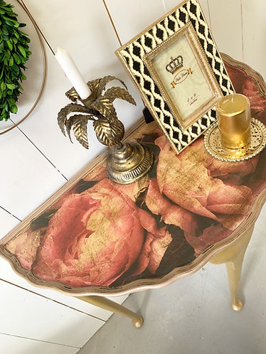 Gold & Floral Demi-lune table