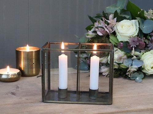 Brass & glass candlestick holders