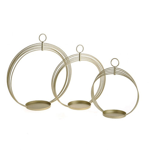 Set of 3 gold circle candle holders