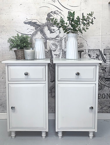 Pair of pale grey bedside cabinets