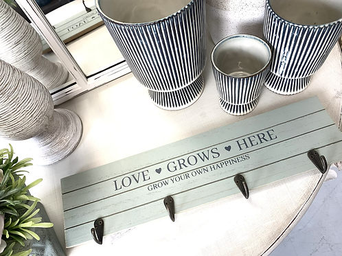 LOVE GROWS HERE hooks - pale green