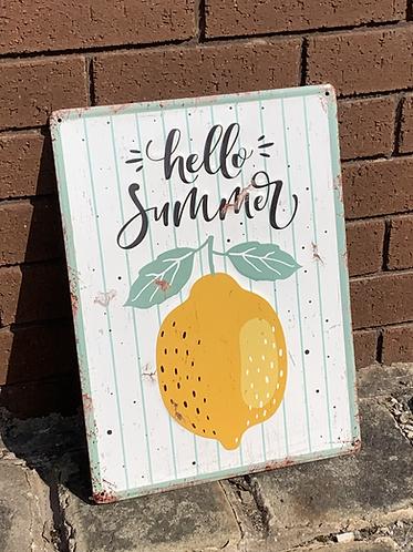 HELLO SUMMER metal wall sign