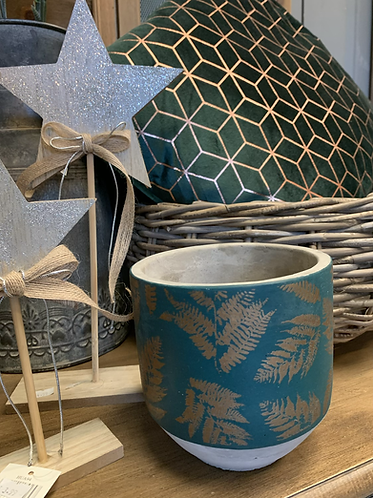Teal with gold leaves plant pot